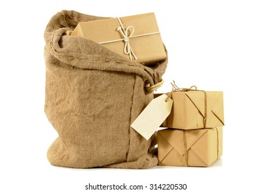 Mail bag or sack with several packages and address label