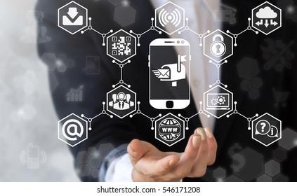 Mail box digital email marketing smart phone business web concept. Communication social network media post envelope e-mail message online mobile chat internet technology
