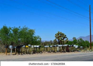 Mail boxes on a road near to the Grand Canyon, Arizona, USA
