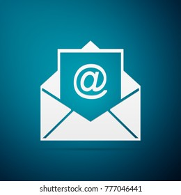 Mail and e-mail icon isolated on blue background. Envelope symbol e-mail. Email message sign. Flat design.