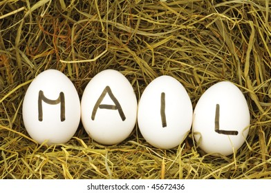 mail or email internet concept with eggs on hey or strew
