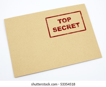 Mail envelope with a stamp top secret