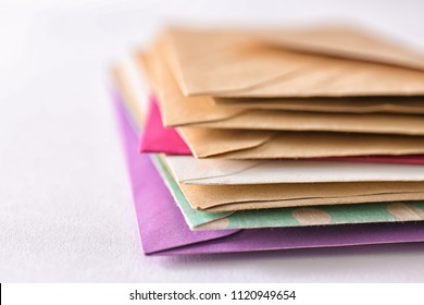 Mail envelopes on white background, closeup
