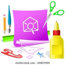 mail find. Paper template. Raster illustration.