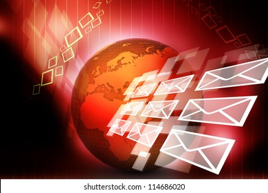 mail and globe illustration