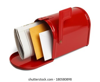 Mail in A Open Red Mailbox Isolated on White Background.