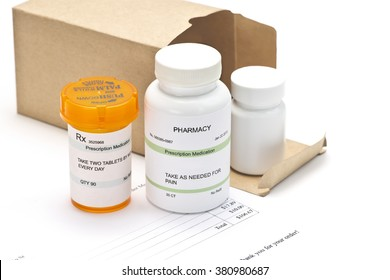 Mail order medications with mailing box and invoice.