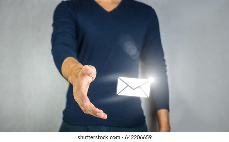 Mail sign light effect, catching by man hand