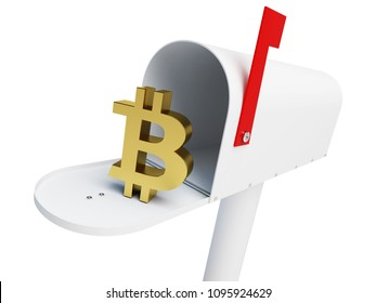 mailbox bitcoin on a white background 3D illustration, 3D rendering