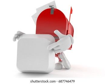 Mailbox character with blank keyboard key isolated on white background. 3d illustration