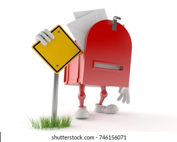 Mailbox character with road sign isolated on white background. 3d illustration
