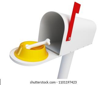 mailbox dog food bone for a dog on a white background 3D illustration, 3D rendering
