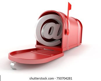 Mailbox with e-mail symbol isolated on white background. 3d illustration