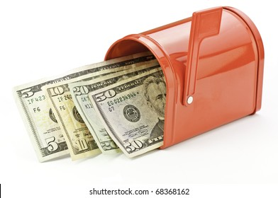 mailbox filled with money from refund, rebate, or wages