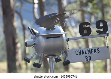 Mailbox of a flying pig made of recycled metal