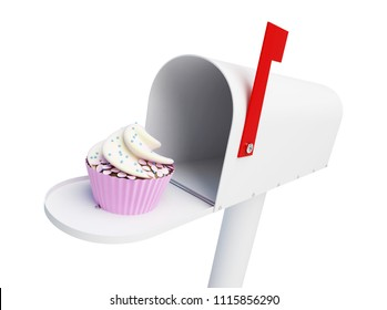 mailbox food cake on a white background 3D illustration, 3D rendering