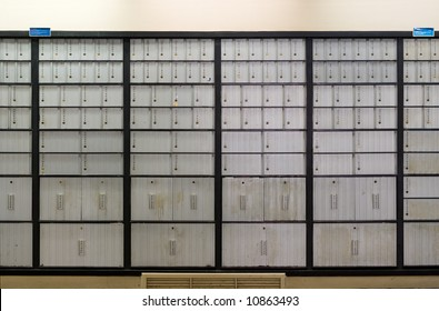 Mailbox lobby at post office.