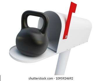 mailbox weight on a white background 3D illustration, 3D rendering