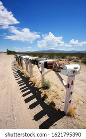 Mailboxes along the road in the American West