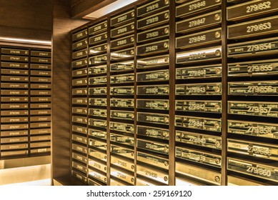 Mailboxes in condominium, postal room building facility