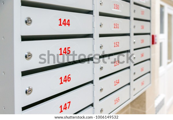 Mailboxes Modern Residential Building Stock Photo (Edit Now