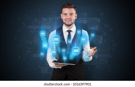 Mailing concept on a tablet with spectacled businessman on the background