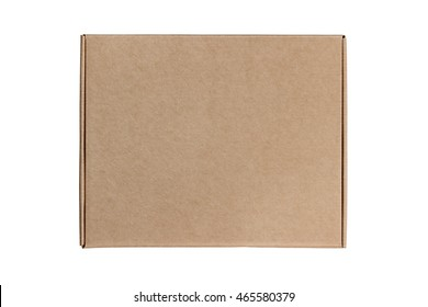 Mailing shipping cardboard box on white background isolated. Top view.