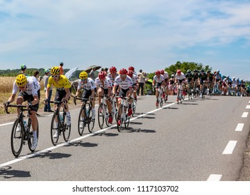 Mailleroncourt-Saint-Pancras, France - July 5, 2017: Geraint Thomas in Yellow Jersey, riding in the peloton on a road to La Planche des Belle Filles during the stage 5 of Tour de France 2017.