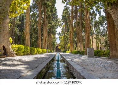 Main alley of the Kashan Fin Garden, also known as Bagh e Fin park. It is a touristic landmark of Kashan, Iran, and a symbol of the Persian empire