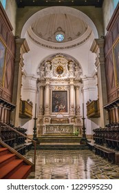Main altar in the Cathedral of Siracusa. Sicily, southern Italy. July-12-2018