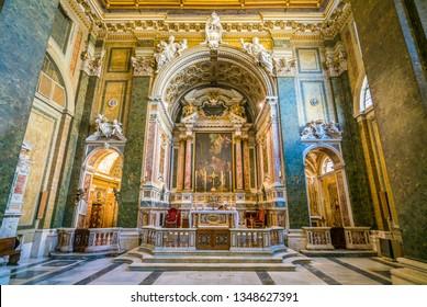 Main altar in the Church of San Girolamo della Carità in Rome, Italy. March-24-2019