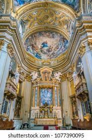 Main altar in the Church of Santa Maria in Vallicella (or Chiesa Nuova), in Rome, Italy. April-18-2018