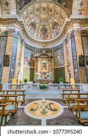 Main altar in the Church of Santa Maria ai Monti, in Rome, Italy. April-08-2018