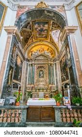 Main altar in the Church of Santa Maria della Pace in Rome, Italy. April-10-2018