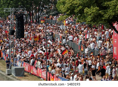 Main Arena crowds and supporters during World Cup 2006 Match. Frankfurt