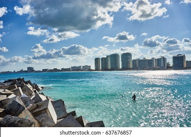 "Main beach at Hotel Zone of Cancun between ""Chac mool"" and ""Gaviota"" / Mexican Beaches in Cancun / Spring break time in Mexico"
