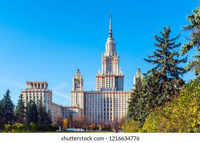 The main building of Lomonosov Moscow State University (MSU) on the Sparrow Hills, the famous Stalin skyscraper and a symbol of science and education in Russia