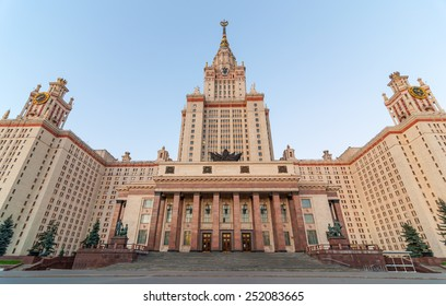 The main building of Lomonosov Moscow State University on Sparrow Hills in Moscow, Russia