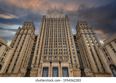 Main building of Ministry of Foreign Affairs of Russia (Stalin skyscraper) in Moscow, Russia
