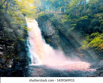 The main Bushkill Falls water flowing fast in the summer that located in Northeast Pennsylvania's Pocono Mountains in the United States.