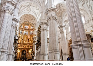 Main cathedral interior in Granada , Spain