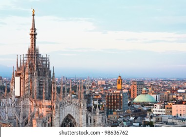 Main cathedral panorama at dusk in Milan