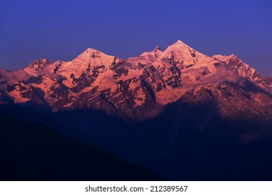 main Caucasian ridge at sunset.Tetnuld and Gestola peaks,Georgia