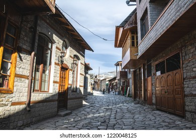 Main central street of Lagich - a town in the Ismailly region, Azerbaijan. Lagich is a notable place in Azerbaijan, with its authentic handicrafts traditions