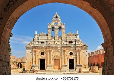The main church of Arkadi Monastery, symbol of the struggle of Cretans against the Ottoman Empire , Rethymno, Crete, Greece.