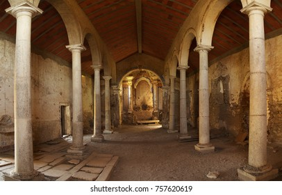 Main church interior of Juromenha fortress or castle. Both church and fortress are in ruins and abandoned. Alentejo, Portugal.