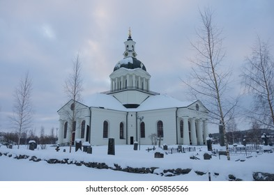 The main church of Skelleftea in Sweden on the early morning of a winter day