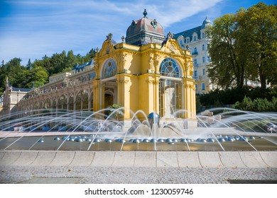 Main colonnade and Singing fountain in Marianske Lazne (Marienbad) - great famous Bohemian spa town in the west part of the Czech Republic (region Karlovy Vary)