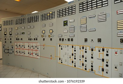 Main control board in a control operations room of the reactor of the Chernobyl Nuclear Power Plant. Press-tour to Chernobyl Nuclear Power Plant for mass-media. April 20, 2018. Chernobyl, Ukraine