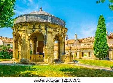 Main courtyard with a pavilion in the old carthusian monastery Chartreuse de Villeneuve lez Avignon, France